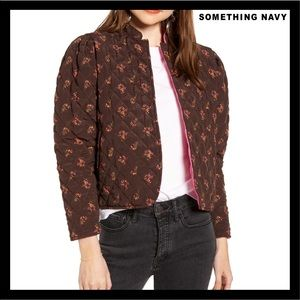 NEW SOMETHING NAVY FLORAL QUILTED JACKET